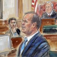 This courtroom sketch depicts Rick Gates testifying during questioning in the bank fraud and tax evasion trial of Paul Manafort at federal court in Alexandria, Virginia, on Aug. 7. | AP