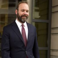 In this Feb. 23, 2018, file photo, Rick Gates leaves federal court in Washington.   AP
