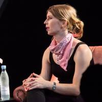 Chelsea Manning talks during the Roskilde Festival about activism in Denmark on July 5. | REUTERS