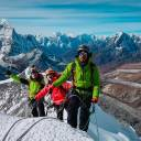 Myanmar mountaineers (from right) Aung Khaing Myint, Zaw Zin Khine and Pyae Phyo Aung are seen last August during their ascent of Ama Dablam mountain in Nepal, in preparation for a mountaineering expedition to Hkakabo Razi on the northern tip of Myanmar near the border with China and India.