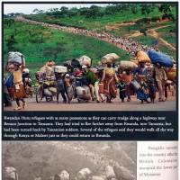 A combination of screenshots shows (top) an image taken from the Pulitzer Prize website depicting the migration of Rwandan Hutu refugees in 1996 following violence in Rwanda. The same image (bottom) appears in the Myanmar army's recently published book on the Rohingya, converted to black-and-white, describing the people as Bengalis entering the country following the British colonial occupation of lower Myanmar. | MARTHA RIAL / PITTSBURGH POST-GAZETTE / THE PULITZER PRIZES (TOP) AND MYANMAR POLITICS AND THE TATMADAW: PART 1 / VIA REUTERS