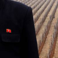 An North Korean fruit farm official poses while wearing a lapel badge featuring the country's founder, Kim Il Sung, on the outskirts of Pyongyang on April 2012.   REUTERS