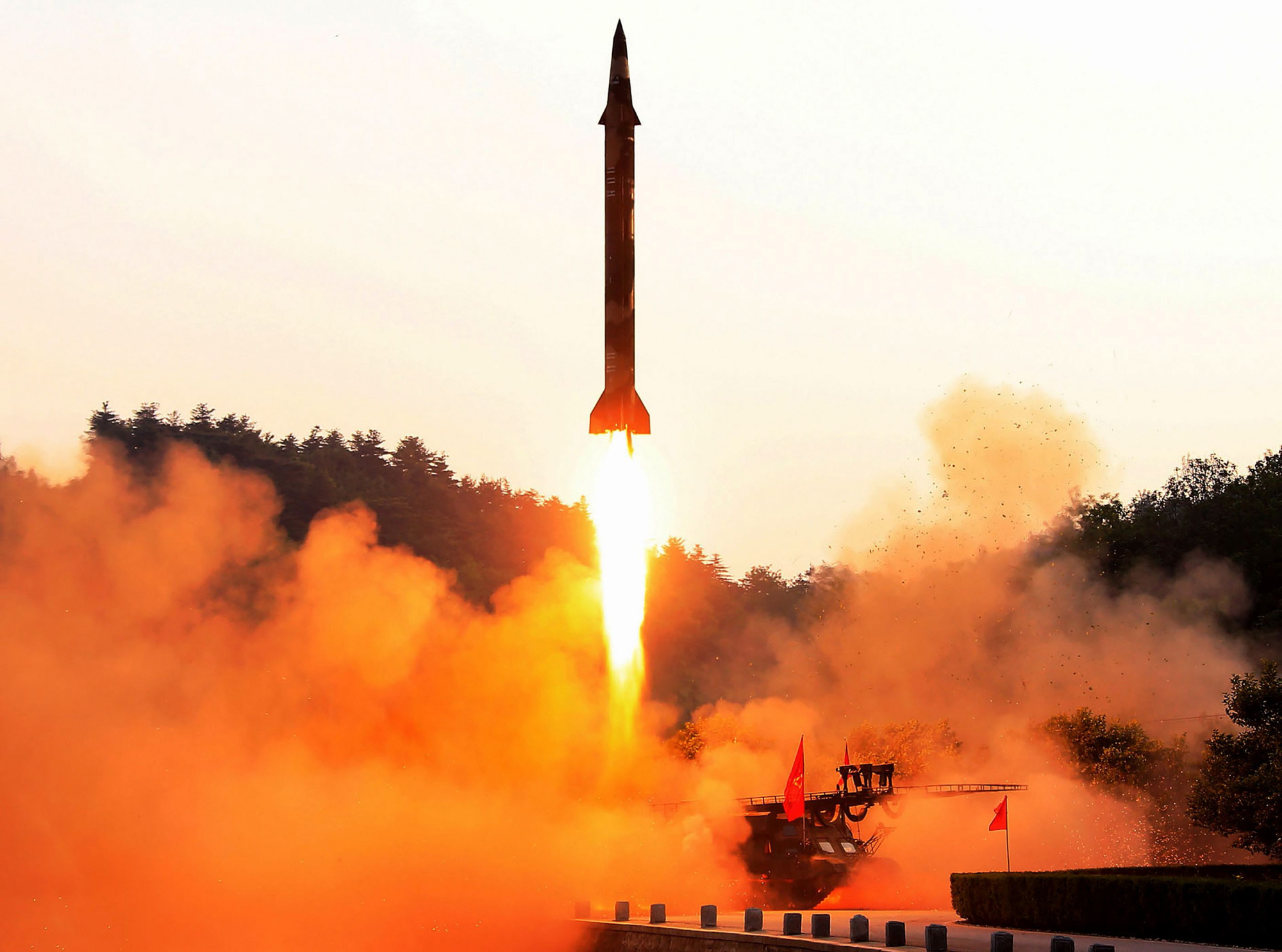 A North Korean ballistic missile is test-fired at an undisclosed location in this undated photo released in May last year. | KCNA VIA KNS / VIA AFP-JIJI