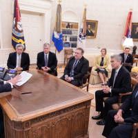 U.S. President Donald Trump holds a meeting on North Korea in the Oval Office on Friday afternoon in this photo posted to the official Twitter account of the White House's director of social media, Dan Scavino Jr.