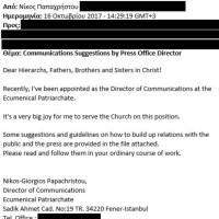 This image shows a portion of an October 2017 email made to look like it was written by Ecumenical Orthodox Church spokesman Nikos-Giorgos Papachristou. The email was booby trapped, suggesting that attempts to digitally compromise the Ecumenical Patriarchate are ongoing. Parts have been redacted to protect sensitive information.   AP