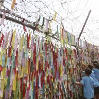Elementary school students hang ribbons written with messages wishing for the reunification of the two Koreas on the wire fence at the Imjingak Pavilion in Paju, South Korea, near the border with North Korea, on Aug. 14. | AP