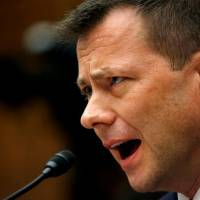 FBI Deputy Assistant Director Peter Strzok testifies before a congressional committee during a joint hearing on 'Oversight of FBI and DOJ Actions Surrounding the 2016 Election' in Washington on July 12. | REUTERS