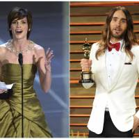 In this combination photo, Hilary Swank (left) accepts the Oscar for best actress for her role in 'Boys Don't Cry' during the 72nd Academy Awards in Los Angeles in 2000, and Jared Leto poses with his Oscar for best supporting actor for 'Dallas Buyer Club' at the 2014 Vanity Fair Oscar Party in West Hollywood, California. Swank and Leto portrayed transgender characters. | AP