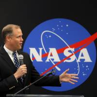 NASA Administrator James Bridenstine delivers remarks as he tours NASA's Michoud Assembly Center in New Orleans on Monday.   AP