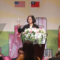 This photograph by Taiwan agency CNA Photo taken on Sunday shows Taiwan President Tsai Ing-wen speaking during her visit to Los Angeles during a stopover en route to allies Paraguay and Belize. Tsai Ing-wen on Monday pledged to promote regional stability in the first public talk given by a Taiwanese leader while transitting in the United States since 2003 in a move bound to rile China. | CNA PHOTO / VIA AFP-JIJI