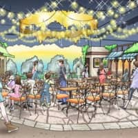 Artist's rendition of Namco's Tokyo Meatrea 'theme park,' slated to open this winter in Hachioiji City.