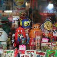 Murakami's gallery is flanked by stores selling rare toys