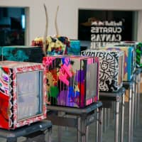 The Red Bull Curates Canvas Cooler project, now on display at the Red Bull Japan HQ. (Photo by Michael Holmes)