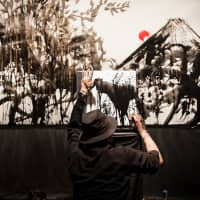 Live painting by Shinpei Kashihara, at the SuperDeluxe event. (Photo by Michael Holmes)