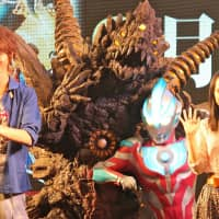 Actors from the Ultraman TV series introduce the release of a film, due out in September.