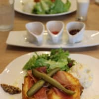 Prosciutto and pickles top this French toast at Yocco's in Nakano.