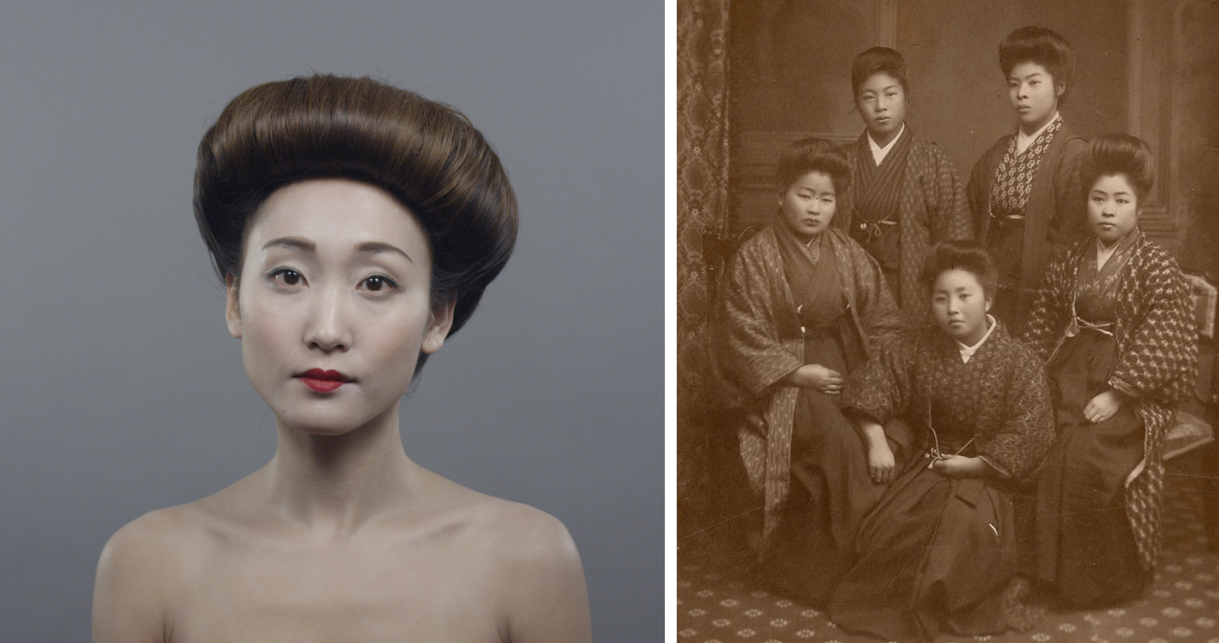 At the end of the Meiji Period, nihongami (traditional bundled hairstyle) was still popular but was mixed with the pompadour look that many women were wearing at the time in Europe. In terms of makeup, ochoboguchi (small lip) style was preferred as women only painted inside their natural lip line.