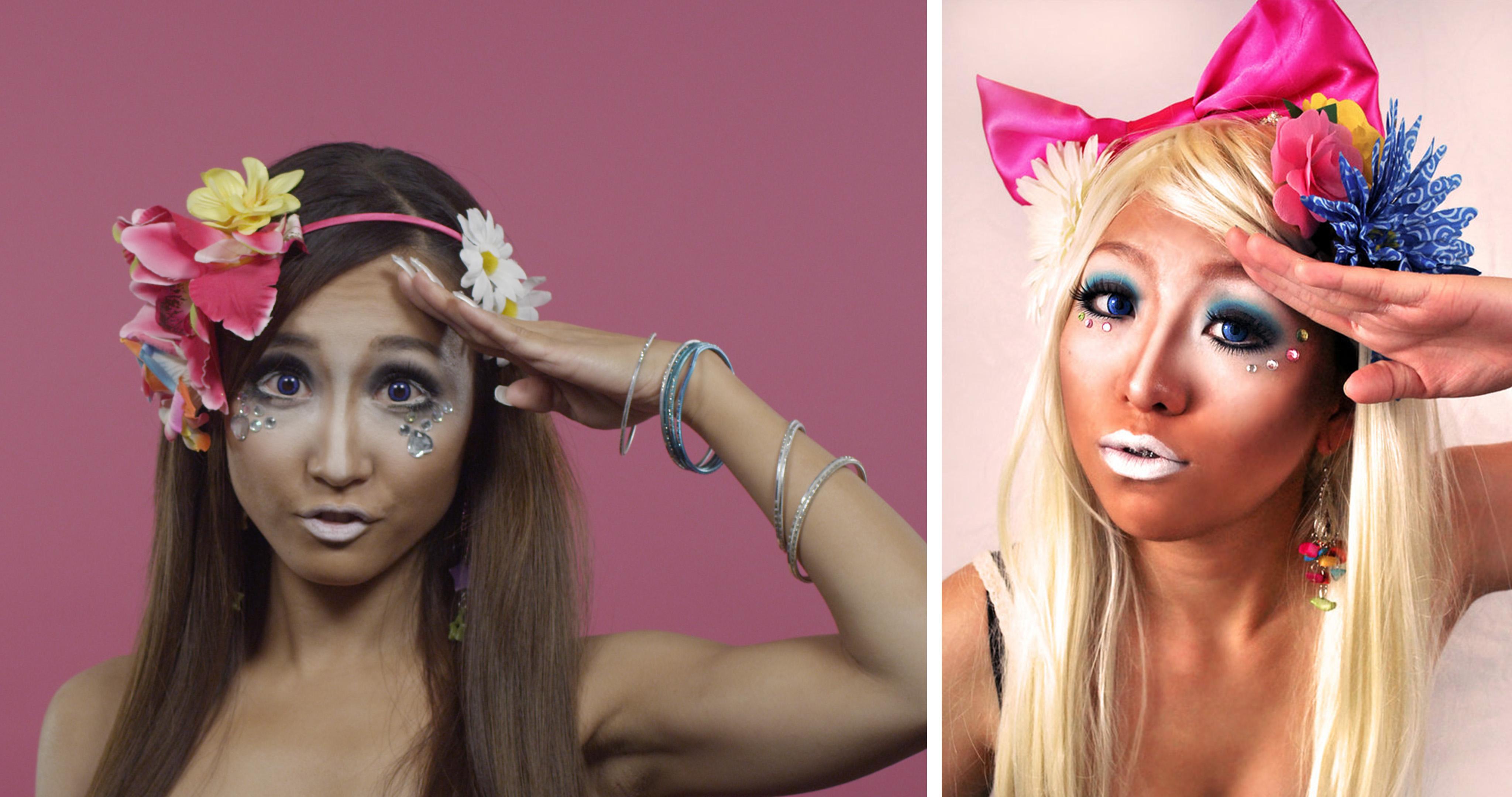 On the other end of the '90s spectrum, ganguro style swept through the streets of Tokyo. Ignoring all past trends and social standards, ganguro embraced tan skin, defining makeup, and outrageous nails and accessories. If you want to witness the look for yourself, you can visit the Ganguro Cafe in Shibuya.