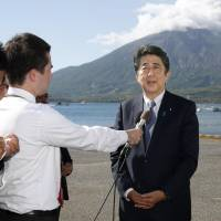 Prime Minister Shinzo Abe declares his candidacy for the Liberal Democratic Party's presidential election on Sunday in Tarumizu, Kagoshima Prefecture. | KYODO