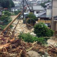 The landslide-damaged streets of Hiroshima's Asakita Ward are shown in this photo taken by a resident on Aug. 20, 2014. | KYODO