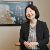 Reiko Abe, president of Oriental Consultants India Pvt. Ltd., is interviewed at her office in Tokyo on July 25. | YOSHIAKI MIURA