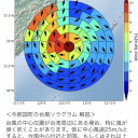 A screenshot of the Life Ranger mobile website shows anticipated wind direction and strength in the event the center of a typhoon falls in one of the cells of the circle over the town of Yonaguni, Okinawa Prefecture. Red indicates strong gusts, while blue indicates weak winds.