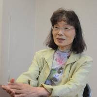 Mutsuko Yoshida, an English-speaking storyteller for atomic bomb survivors, discusses her planned trip to Portugal in September. | KYODO