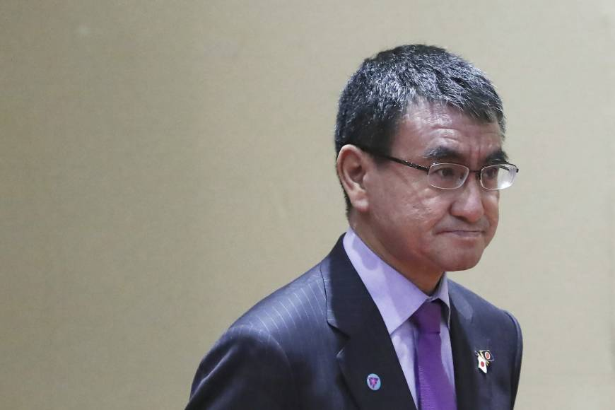 Foreign Minister Taro Kono meets with North Korean counterpart in Singapore