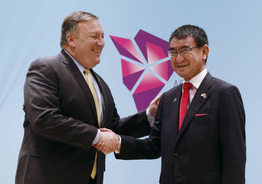 Amid growing frustration, Foreign Minister Taro Kono tells U.S. counterpart Mike Pompeo of desire for talks with North