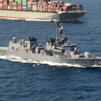 The destroyer Makinami of the Maritime Self-Defense Force, seen in this undated file photo, and the training ship Kashima took part in a joint drill with NATO in the Baltic Sea, the international defense organization said Wednesday. | SDF / VIA KYODO