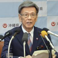 Okinawa Gov. Takeshi Onaga speaks in May during a news conference in Naha, Okinawa Prefecture. | KYODO