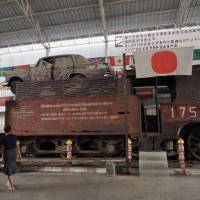 A train used by the Imperial Japanese Army during World War II to transport munitions is displayed at the Arts Gallery and War Museum near the River Kwai Bridge in Thailand's Kanchanaburi province on July 24. | KYODO