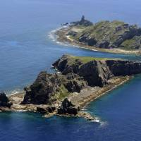 The Takeshima islets, seen here in September 2012, are located in the Sea of Japan off Shimane Prefecture. They are known as Dokdo in Korean. | KYODO