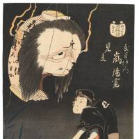 Tales from the crypt: A woodblock print featuring an interpretation of the ghost Oiwa from the folk tale 'Yotsuya Kaidan' by Shunbaisai Hokuei (1832). | PUBLIC DOMAIN
