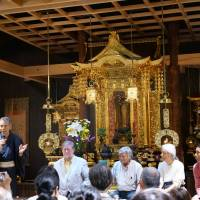 Stars of the slow life: From left to right: Shinichi Tsuji, C.W. Nicol, Koichi Kaizawa, Wong Win Tsan and Tsuji Takayuki speak at a panel event at Zenjryoji temple. | TAKESHI ASANO
