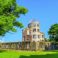 Prophetic fiction?: Author Jeffrey Lewis based his latest book on the experiences of surviving victims of the 1945 atomic bombing of Hiroshima. The Genbaku Dome (pictured) was the only structure left standing in the area the atomic bomb exploded in Hiroshima. | GETTY IMAGES
