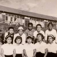 Passing the baton: The 'ragged class' relay team in 1954, with Sadako Sasaki in the center, next to Tomiko Kawano (second from left). After training every day for a year, the team won first place, in large part due to Sadako, their anchor. | COURTESY OF TOMIKO KAWANO