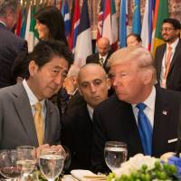 Prime Minister Shinzo Abe, shown talking with U.S. President Donald Trump at the U.N. General Assembly in October, has taken the lead in articulating the necessity for an Indo-Pacific strategy. | THE WHITE HOUSE