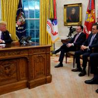 Mexican Foreign Minister Luis Videgaray (third from right), Economy Minister Ildefonso Guajardo (second from right),  and Jesus Seade (right), President-elect Andres Obrador's trade representative, meet with U.S. President Donald Trump in the Oval Office on Monday. | REUTERS