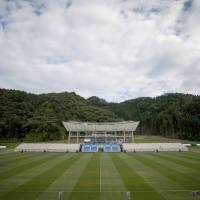 Kamaishi Unosumai Memorial Stadium was built on land submerged by the tsunami that followed the 2011 Great East Japan Earthquake, on the former site of a junior high school and elementary school. | AFP-JIJI