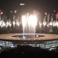 A general view of fireworks during the opening ceremony at the Asian Games on Saturday in Jakarta.