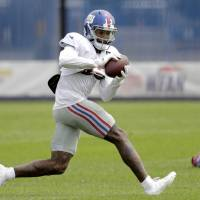 Giants receiver Odell Beckham makes a catch during training camp on Aug. 21 in East Rutherford, New Jersey.