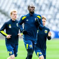 Eight-time Olympic sprinting gold medalist Usain Bolt is seen training with the Central Coast Mariners at Central Coast Stadium in Gosford.   REUTERS
