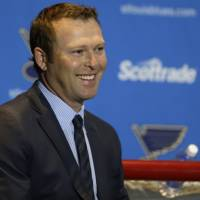 Martin Brodeur, seen in a January 2015 file photo, is leaving the St. Louis Blues after three years as assistant general manager to join the New Jersey Devils as executive vice president of business development. | AP