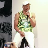 Russell Westbrook speaks at a talk show at the Nike store in Harajuku on Tuesday. | KAZ NAGATSUKA