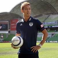 Keisuke Honda poses for a photo at Melbourne Victory's stadium on Wednesday. | AFP-JIJI