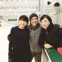 David Wilson, seen here with Kaori Sakamoto and coach Sonoko Nakano, created a new short program for the Olympian for the coming season. | FACEBOOK