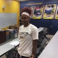 Marquette forward Tori McCoy poses for a photo on July 31 at the Al McGuire Center on campus in Milwaukee.