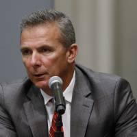 Ohio State football coach Urban Meyer speaks during a news conference on Wednesday in Columbus, Ohio.