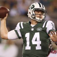 New York Jets QB Sam Darnold throws a pass against Atlanta in preseason action on Friday night.   AP